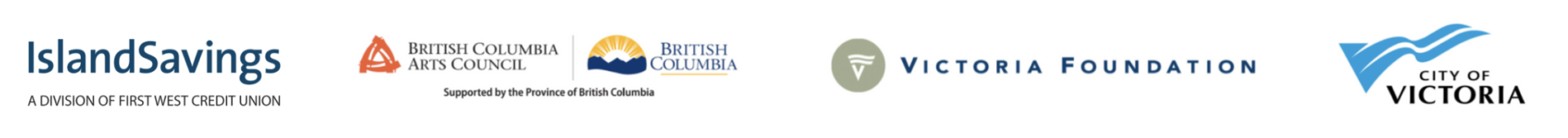 The logos of BC Arts Council, Victoria Foundation, and City of Victoria
