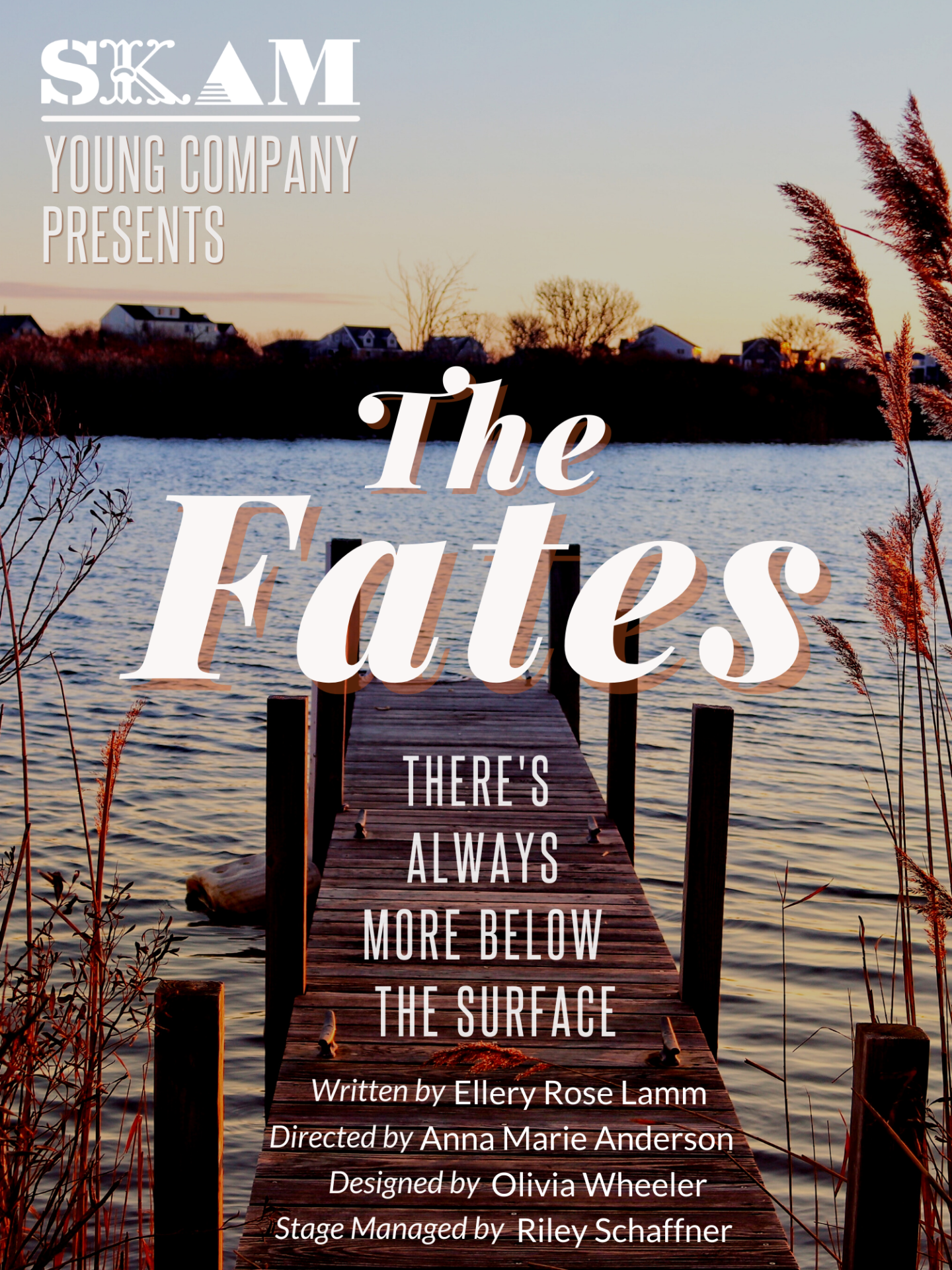 """Poster for upcoming SYC Show """"The Fates"""", the poster depicts a dock extending into the water."""